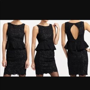 Alice & Olivia Josephine black lace  peplum dress